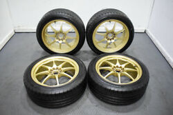 Used Clean Jdm 5x114.3/5x100 17x8 +40 8 Spoke Forged Wheels In Gold Finish