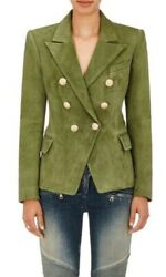 Balmain Fr 40 Us 6 Double Breasted Green Suede Blazer