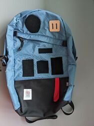 Topo Designs Daypack Backpack in BlueWhite Ripstop EDC Patches hook loop