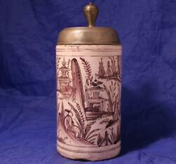 Antique Early German Faience Beer Stein Thueringen Chinese Motifs C.1790s