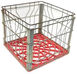 Vintage Wire And Red Plastic Upstate Dairy Milk Crate Advertising Box