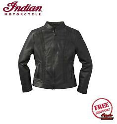 GENUINE INDIAN MOTORCYCLE WOMEN#x27;S CHARLOTTE CASUAL LEATHER JACKET BRAIDED BLACK $269.99