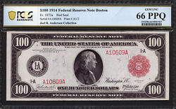 $100 1914 Red Seal FRN Boston Federal Reserve Note FR 1072a PCGS Banknote 66 PPQ