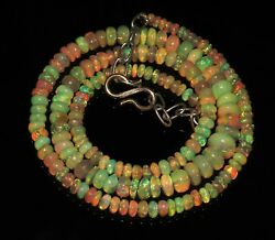 Natural Genuine Ethiopian Fire Opal Bead Necklace 3to7mm16+1.5adjustable Chain