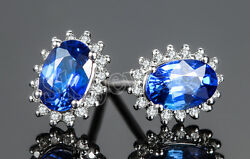 1.03ct Natural Round Diamond Sapphire 14k Solid White Gold Wedding Stud Earring