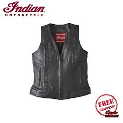 GENUINE INDIAN MOTORCYCLE WOMEN#x27;S CHARLOTTE CASUAL LEATHER VEST BRAIDED BLACK $199.99