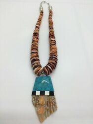 Exquisite Native American Handmade Santo Domingo Lions Paw And Spiney Oyster And T