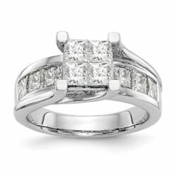 14k White Gold Complete Diamond Cluster Engagement Ring Size 7 2.00ctw 9