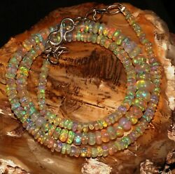 Natural Genuine Ethiopian Fire Opal Bead Necklace 3to6mm16+1.5adjustable Chain
