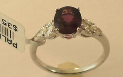 Ladies 18k White Gold Garnet Diamond Ring Size 7 New With Tags