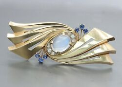 Retro And Co Moonstone Sapphire And Diamond 14k Gold Abstract Brooch