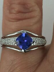 18kt Gold 1.37 Ctw Aaa Tanzanite And Diamond Ring Size 7.75 1999 Retail
