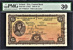 Ireland 1944 Lady Lavery Andpound5 War Code M Pick-3d Very Fine Pmg 30