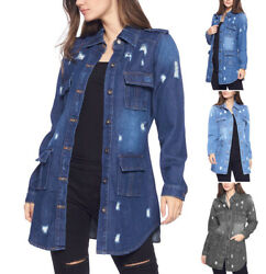 Womenand039s Military Utility Distressed Denim Cotton Button Up Long Jean Jacket