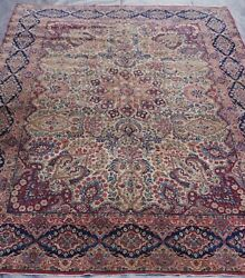 Exquite Antique Kermann Floral Hand Knotted Wool Oriental Rug Cleaned 8.7x11.7