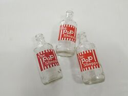 Lot Of 3 The Pop Shoppe 10oz Vintage Bottles Old Water Collectable Red