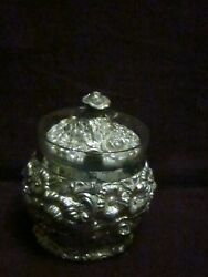 W.b. Mfg. Silverplate Repousse Condiment With Glass Liner 3 1/2