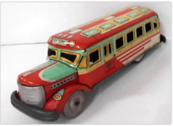 Masudaya Bonnet Bus Tin Toy Tinplate Vintage Antique