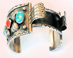 1976 Navajo Indian Silver, Turquoise And Coral Bracelet Watchband James Yazzie