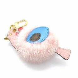Rare Louis Vuitton Pink Bird Fur Bag Charm Key Chain - Limited Edition Sold Out