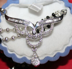 Black Friday 1.33ct Natural Baguette Diamond 14k Solid White Gold Mangalsutra
