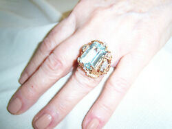 Vintage Aquamarine And Diamond Coctail Ring, Set In A Custom Free-form Base