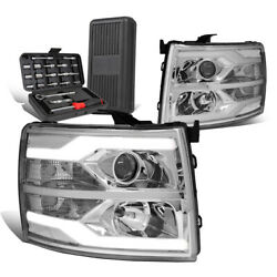 For 2007-2014 Silverado Dual Led Tube Projector Headlight+tool Box Chrome Clear