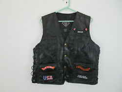 Leather Biker Motorcycle Buffalo Leather Black Vest With Patches Mens Size Large