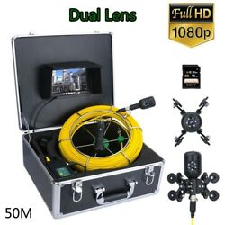 7and039and039 Dvr 50m 1080p Hd Dual Camera Lens Drain Sewer Pipeline Industrial Endoscope