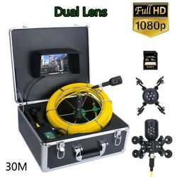 7 Dvr Sewer Pipeline Industrial Endoscope Pipe Inspection Video Dual Camera 30m
