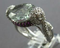 Large 6.69ct Diamond And Aaa Green Amethyst And Ruby 14k White Gold 3d Oval Fun Ring