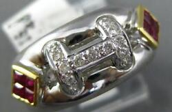 Wide .56ct Diamond And Aaa Ruby 18k 2 Tone Gold 3d Round And Princess H Initial Ring