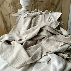 Upholstery Fabric Set Antique French Ticking + Vintage Linen For Pillows Chairs