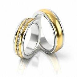 1 Pair Wedding Rings Gold 585 - Bicolour With 27 Diamonds Per 003ct - Width 6