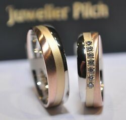 1 Pair Wedding Rings Tricolor 333 Width 5,5mm Women's Ring With Diamonds 0,14ct