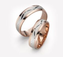 1 Pair Wedding Rings Bands Gold 750 - Width 6mm - High 135mm Top
