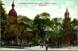 Postcard A Glimpse Of The Court House And St Johns Cathedral Milwaukee