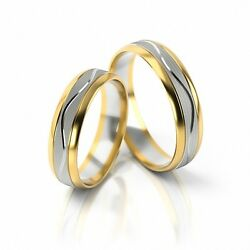 1 Pair Wedding Rings Gold 750 - Bicolour - Width 5mm Or On Request