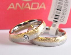 1 Pair Wedding Rings Gold 333585 Or 750 With Diamond - Widths 3mm - 10mm