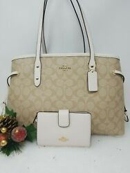 🌟🌷coach Signature Drawstring Carryall Lt.khaki/chalk 57842 And Wallet Authentic