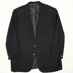 Brioni Traiano Mens Blazer 44r Solid Navy Blue Wool Brass Button Jacket Italy