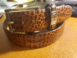 Great Looking Brand New PGA  TOUR Crocodile Design Brown Leather Belt Size 42 $12.99