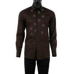 Dolce And Gabbana Gold Tuxedo Silk Bee Embroidery Shirt Brown Silver 38 Xs 08521