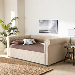 Mabelle Modern Button-tufted Beige Fabric Rolled Arms Sofa Daybed Bed Frame