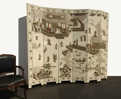 Six Panel Screen Coromandel Chinese Asian White Lacquer Room Divider Chinoiserie