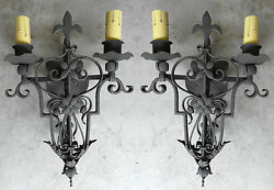 Pair Unique 1920s Style Wrought Iron Spanish Revival Wall Sconce Lamp Mission