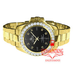 Solid Steel Black Dial 18k Gold Finish Simulated Diamond 42mm Presidential Watch