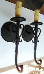 Pair 1920s Style Hand Made Wrought Iron Spanish Revival Mission Wall Sconce Lamp