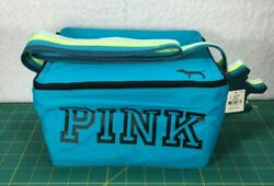 NWT Victoria's Secret Pink Blue Insulated Cooler Lunch Box Bag & Dog Keychain