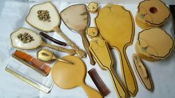 Vintage Lot French Ivory Celluloid Vanity Set And Dresser Itemsmirrors/brushes...